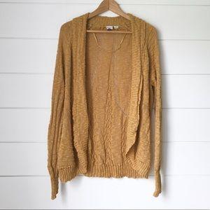 ROXY Mustard Knit Open Front Cardigan